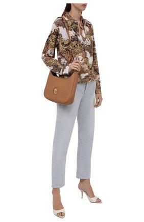 Женская рубашка KENZO бежевого цвета, арт. FB62T08594PE   Фото 2 (Рукава: Длинные; Длина (для топов): Стандартные; Материал внешний: Синтетический материал; Стили: Кэжуэл; Принт: С принтом; Женское Кросс-КТ: Рубашка-одежда)