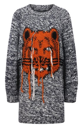 Женский свитер KENZO черно-белого цвета, арт. FB62R06323TD   Фото 1 (Материал внешний: Хлопок; Рукава: Длинные; Длина (для топов): Удлиненные; Стили: Кэжуэл; Женское Кросс-КТ: Свитер-одежда)