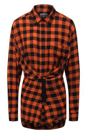 Женская рубашка из вискозы и шерсти KENZO оранжевого цвета, арт. FB62CH0455AH | Фото 1 (Рукава: Длинные; Материал внешний: Вискоза; Длина (для топов): Удлиненные; Стили: Кэжуэл; Принт: Клетка; Женское Кросс-КТ: Рубашка-одежда)