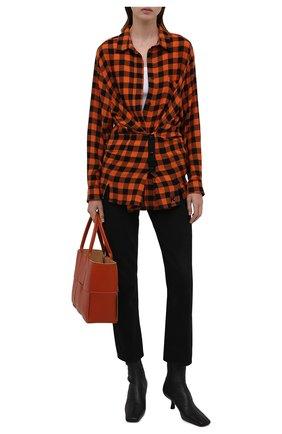 Женская рубашка из вискозы и шерсти KENZO оранжевого цвета, арт. FB62CH0455AH | Фото 2 (Рукава: Длинные; Материал внешний: Вискоза; Длина (для топов): Удлиненные; Стили: Кэжуэл; Принт: Клетка; Женское Кросс-КТ: Рубашка-одежда)