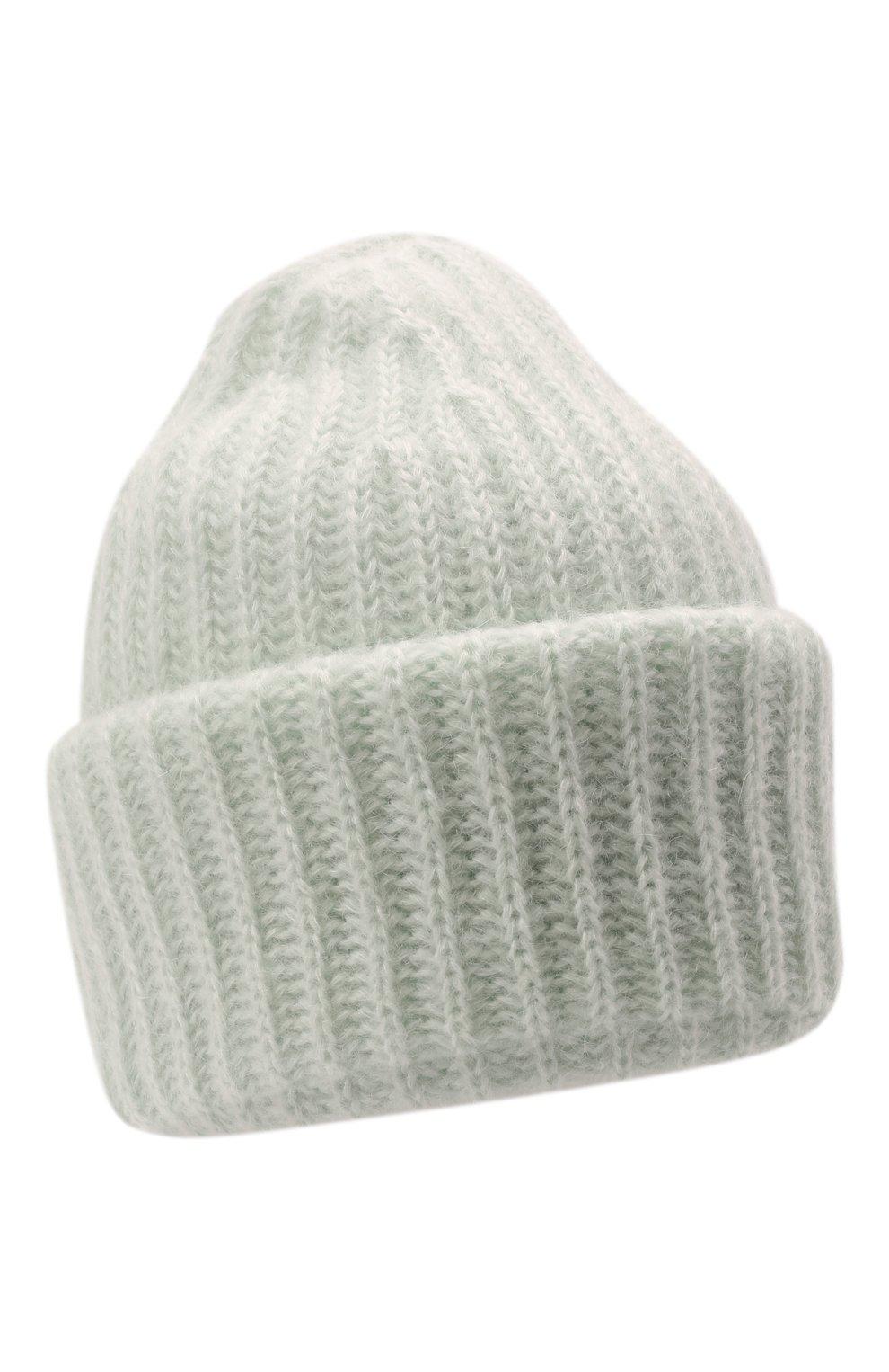 Женская шапка TAK.ORI светло-зеленого цвета, арт. AC043MW018PF17 | Фото 1 (Материал: Текстиль, Шерсть, Синтетический материал)