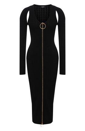 Женское платье из вискозы BALMAIN черного цвета, арт. WF0RL080/K330   Фото 1 (Длина Ж (юбки, платья, шорты): Миди; Рукава: Длинные; Материал внешний: Вискоза; Стили: Гламурный; Случай: Вечерний; Женское Кросс-КТ: платье-футляр; Кросс-КТ: Трикотаж)