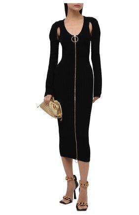 Женское платье из вискозы BALMAIN черного цвета, арт. WF0RL080/K330   Фото 2 (Длина Ж (юбки, платья, шорты): Миди; Рукава: Длинные; Материал внешний: Вискоза; Стили: Гламурный; Случай: Вечерний; Женское Кросс-КТ: платье-футляр; Кросс-КТ: Трикотаж)