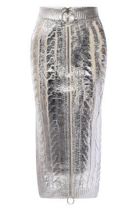 Женская юбка BALMAIN серебряного цвета, арт. WF0LD072/K313 | Фото 1 (Материал внешний: Лиоцелл, Шерсть; Длина Ж (юбки, платья, шорты): Миди; Стили: Гламурный; Кросс-КТ: Трикотаж)