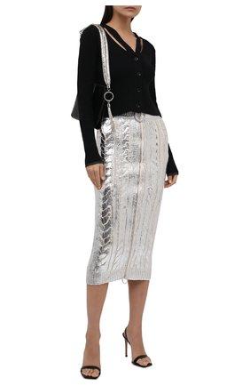 Женская юбка BALMAIN серебряного цвета, арт. WF0LD072/K313 | Фото 2 (Материал внешний: Лиоцелл, Шерсть; Длина Ж (юбки, платья, шорты): Миди; Стили: Гламурный; Кросс-КТ: Трикотаж)