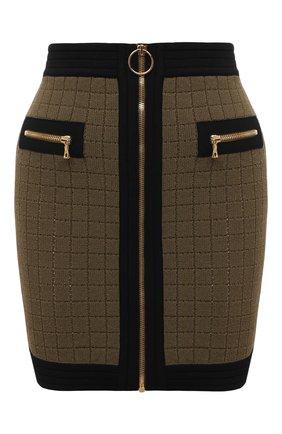 Женская юбка из вискозы BALMAIN хаки цвета, арт. WF0LB011/K330   Фото 1 (Материал внешний: Вискоза; Длина Ж (юбки, платья, шорты): Мини; Стили: Гламурный; Кросс-КТ: Трикотаж)