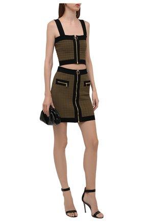 Женская юбка из вискозы BALMAIN хаки цвета, арт. WF0LB011/K330   Фото 2 (Материал внешний: Вискоза; Длина Ж (юбки, платья, шорты): Мини; Стили: Гламурный; Кросс-КТ: Трикотаж)