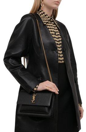 Женская сумка sunset medium SAINT LAURENT черного цвета, арт. 442906/H3Z0W | Фото 2 (Материал: Натуральная кожа; Размер: medium; Ремень/цепочка: На ремешке; Сумки-технические: Сумки через плечо)