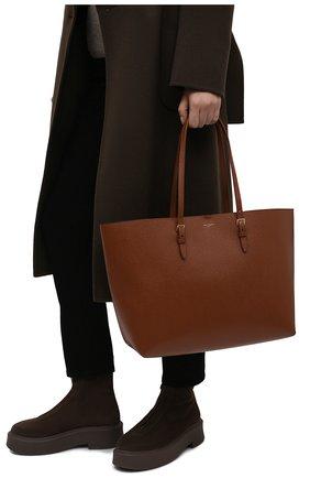 Женский сумка-шопер east/west medium  SAINT LAURENT коричневого цвета, арт. 604309/H3Z0W | Фото 2 (Ошибки технического описания: Нет ширины; Материал: Натуральная кожа; Размер: medium; Сумки-технические: Сумки-шопперы)