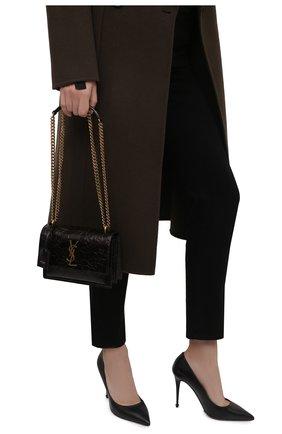 Женская сумка sunset medium SAINT LAURENT темно-коричневого цвета, арт. 441972/2900W | Фото 2 (Размер: medium; Ремень/цепочка: На ремешке; Материал: Натуральная кожа; Сумки-технические: Сумки через плечо)