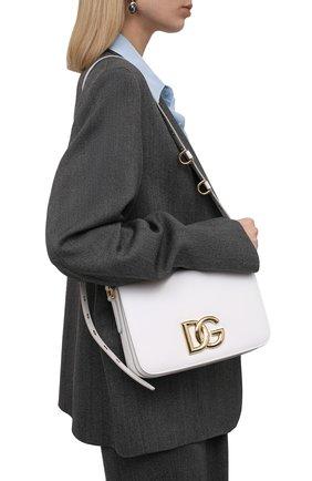 Женская сумка dg millennials DOLCE & GABBANA белого цвета, арт. BB7077/AW576   Фото 2 (Материал: Натуральная кожа; Размер: small; Сумки-технические: Сумки через плечо; Ремень/цепочка: На ремешке)
