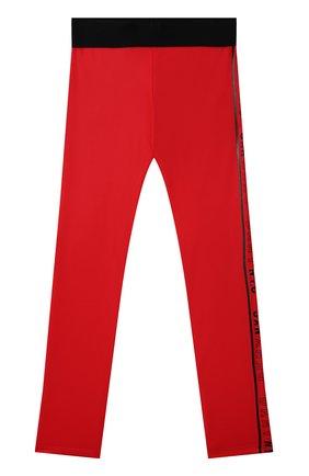 Детские леггинсы DKNY красного цвета, арт. D34A30   Фото 1 (Материал внешний: Синтетический материал)