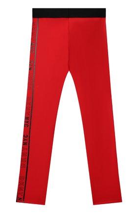 Детские леггинсы DKNY красного цвета, арт. D34A30   Фото 2 (Материал внешний: Синтетический материал)