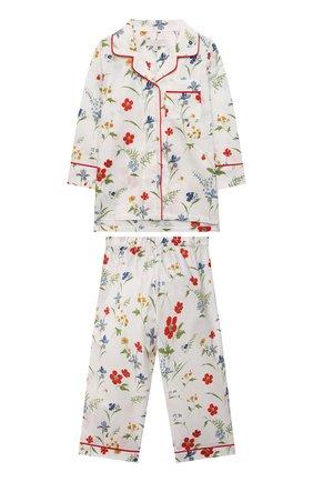 Детская хлопковая пижама LITTLE YOLKE кремвого цвета, арт. AW21-12C-ME-FL   Фото 1 (Материал внешний: Хлопок; Рукава: Длинные)