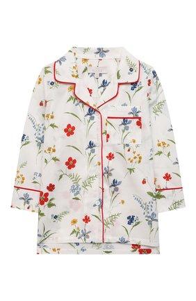 Детская хлопковая пижама LITTLE YOLKE кремвого цвета, арт. AW21-12C-ME-FL   Фото 2 (Материал внешний: Хлопок; Рукава: Длинные)