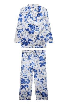 Детская шелковая пижама LITTLE YOLKE кремвого цвета, арт. AW21-12S-WAL-BL   Фото 1 (Материал внешний: Шелк; Рукава: Длинные)
