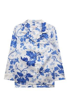 Детская шелковая пижама LITTLE YOLKE кремвого цвета, арт. AW21-12S-WAL-BL   Фото 2 (Материал внешний: Шелк; Рукава: Длинные)