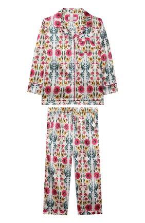 Детская шелковая пижама LITTLE YOLKE кремвого цвета, арт. AW21-12S-WIF-IV   Фото 1 (Рукава: Длинные; Материал внешний: Шелк)