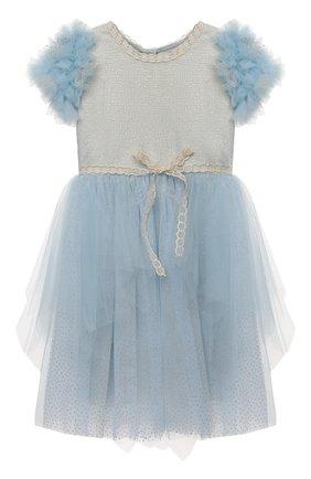 Детское платье DESIGNERS CAT голубого цвета, арт. 100000K01000945/4A-8A | Фото 1 (Материал внешний: Синтетический материал; Рукава: Короткие; Материал подклада: Хлопок)
