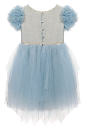 Детское платье DESIGNERS CAT голубого цвета, арт. 100000K01000945/4A-8A | Фото 2 (Материал внешний: Синтетический материал; Рукава: Короткие; Материал подклада: Хлопок)
