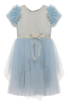 Детское платье DESIGNERS CAT голубого цвета, арт. 100000K01000945/2A-3A | Фото 1 (Материал подклада: Хлопок; Материал внешний: Синтетический материал; Рукава: Короткие)