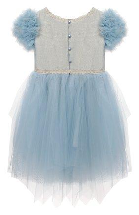 Детское платье DESIGNERS CAT голубого цвета, арт. 100000K01000945/2A-3A | Фото 2 (Материал подклада: Хлопок; Материал внешний: Синтетический материал; Рукава: Короткие)