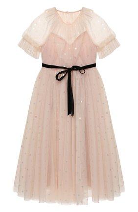 Детское платье DESIGNERS CAT розового цвета, арт. 100000K01000943/4A-8A | Фото 1 (Материал внешний: Синтетический материал; Материал подклада: Хлопок; Рукава: Короткие)