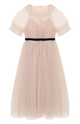 Детское платье DESIGNERS CAT розового цвета, арт. 100000K01000943/4A-8A | Фото 2 (Материал внешний: Синтетический материал; Материал подклада: Хлопок; Рукава: Короткие)