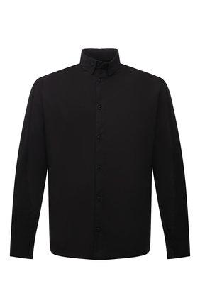 Мужская хлопковая рубашка TRANSIT черного цвета, арт. CFUTRPW320 | Фото 1 (Материал внешний: Хлопок; Мужское Кросс-КТ: Рубашка-одежда; Принт: Однотонные; Манжеты: Без застежки; Рукава: Длинные; Случай: Повседневный; Воротник: Button down)