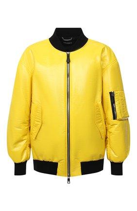 Мужской утепленный бомбер DOLCE & GABBANA желтого цвета, арт. G9WI4T/FUSJT | Фото 1 (Длина (верхняя одежда): Короткие; Материал внешний: Синтетический материал; Рукава: Длинные; Материал подклада: Синтетический материал; Кросс-КТ: Куртка; Мужское Кросс-КТ: утепленные куртки; Принт: Без принта; Стили: Гранж)