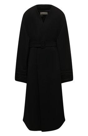 Женское шерстяное пальто DRIES VAN NOTEN черного цвета, арт. 212-010249-3324 | Фото 1 (Рукава: Длинные; Длина (верхняя одежда): Длинные; Материал внешний: Шерсть; 1-2-бортные: Однобортные; Стили: Кэжуэл)