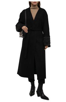 Женское шерстяное пальто DRIES VAN NOTEN черного цвета, арт. 212-010249-3324 | Фото 2 (Рукава: Длинные; Длина (верхняя одежда): Длинные; Материал внешний: Шерсть; 1-2-бортные: Однобортные; Стили: Кэжуэл)