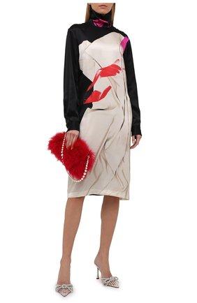Женское шелковое платье DRIES VAN NOTEN разноцветного цвета, арт. 212-011079-3079 | Фото 2 (Материал внешний: Шелк; Длина Ж (юбки, платья, шорты): До колена; Рукава: Длинные; Женское Кросс-КТ: Платье-одежда; Случай: Повседневный; Стили: Романтичный)