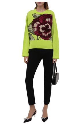 Женский свитер KENZO салатового цвета, арт. FB62PU6293RL   Фото 2 (Длина (для топов): Стандартные; Материал внешний: Синтетический материал, Вискоза; Рукава: Длинные; Женское Кросс-КТ: Свитер-одежда; Стили: Романтичный)