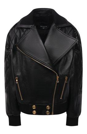Женская кожаная куртка BALMAIN черного цвета, арт. WF1TD020/L158   Фото 1 (Материал подклада: Вискоза; Длина (верхняя одежда): Короткие; Рукава: Длинные; Кросс-КТ: Куртка; Женское Кросс-КТ: Замша и кожа; Стили: Гранж)