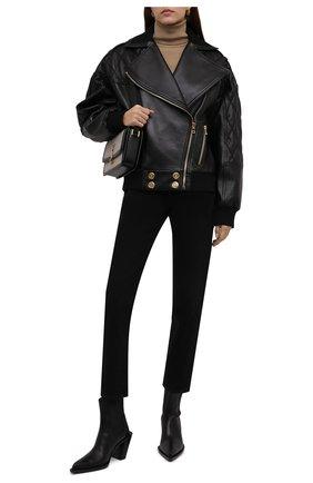 Женская кожаная куртка BALMAIN черного цвета, арт. WF1TD020/L158   Фото 2 (Материал подклада: Вискоза; Длина (верхняя одежда): Короткие; Рукава: Длинные; Кросс-КТ: Куртка; Женское Кросс-КТ: Замша и кожа; Стили: Гранж)