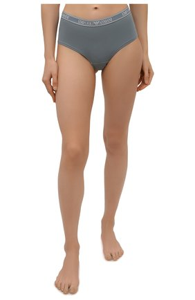 Женские трусы-шорты EMPORIO ARMANI серо-голубого цвета, арт. 163225/1A227 | Фото 2 (Материал внешний: Хлопок; Женское Кросс-КТ: Трусы)