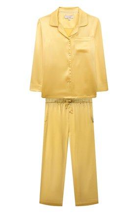 Детская шелковая пижама LITTLE YOLKE желтого цвета, арт. C0RE-12S-SUN-YE | Фото 1 (Рукава: Длинные; Материал внешний: Шелк)