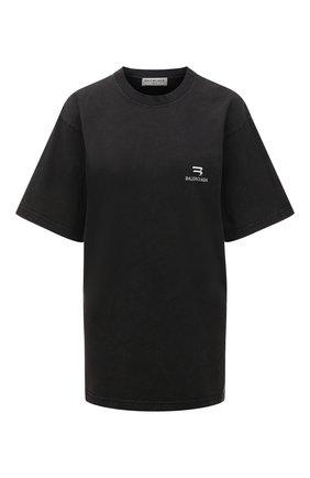 Женская хлопковая футболка BALENCIAGA темно-серого цвета, арт. 675016/TLV99 | Фото 1 (Материал внешний: Хлопок; Рукава: Короткие; Длина (для топов): Удлиненные; Женское Кросс-КТ: Футболка-одежда; Стили: Спорт-шик; Принт: С принтом)