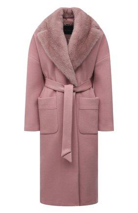 Женское кашемировое пальто KITON розового цвета, арт. D52641K0551A   Фото 1 (Материал подклада: Шелк; Рукава: Длинные; Материал внешний: Шерсть, Кашемир; Длина (верхняя одежда): Длинные; 1-2-бортные: Однобортные; Стили: Классический)