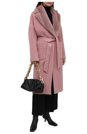 Женское кашемировое пальто KITON розового цвета, арт. D52641K0551A   Фото 2 (Материал подклада: Шелк; Рукава: Длинные; Материал внешний: Шерсть, Кашемир; Длина (верхняя одежда): Длинные; 1-2-бортные: Однобортные; Стили: Классический)