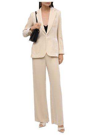 Женские брюки из вискозы и шелка POLO RALPH LAUREN кремвого цвета, арт. 211827596   Фото 2 (Длина (брюки, джинсы): Стандартные; Материал подклада: Синтетический материал; Материал внешний: Вискоза; Силуэт Ж (брюки и джинсы): Широкие; Женское Кросс-КТ: Брюки-одежда; Стили: Кэжуэл)