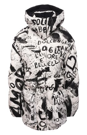 Женский пуховик DOLCE & GABBANA черно-белого цвета, арт. F9K50T/G7BEW | Фото 1 (Материал внешний: Синтетический материал; Материал утеплителя: Пух и перо; Длина (верхняя одежда): До середины бедра; Материал подклада: Синтетический материал; Рукава: Длинные; Стили: Спорт-шик)