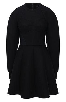 Женское платье из хлопка и вискозы DOLCE & GABBANA черного цвета, арт. F6R6RT/G7BDX | Фото 1 (Длина Ж (юбки, платья, шорты): Мини; Рукава: Длинные; Материал внешний: Хлопок; Материал подклада: Хлопок; Женское Кросс-КТ: Платье-одежда; Стили: Романтичный; Случай: Повседневный)