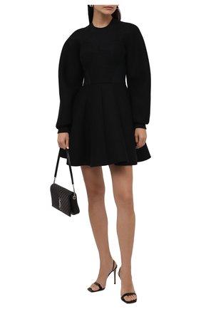 Женское платье из хлопка и вискозы DOLCE & GABBANA черного цвета, арт. F6R6RT/G7BDX | Фото 2 (Длина Ж (юбки, платья, шорты): Мини; Рукава: Длинные; Материал внешний: Хлопок; Материал подклада: Хлопок; Женское Кросс-КТ: Платье-одежда; Стили: Романтичный; Случай: Повседневный)