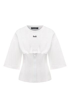 Женский хлопковый пуловер DOLCE & GABBANA белого цвета, арт. F8N59T/HU7H9 | Фото 1 (Материал внешний: Хлопок; Рукава: 3/4; Длина (для топов): Стандартные; Женское Кросс-КТ: Пуловер-одежда; Стили: Бохо)