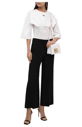 Женский хлопковый пуловер DOLCE & GABBANA белого цвета, арт. F8N59T/HU7H9 | Фото 2 (Материал внешний: Хлопок; Рукава: 3/4; Длина (для топов): Стандартные; Женское Кросс-КТ: Пуловер-одежда; Стили: Бохо)