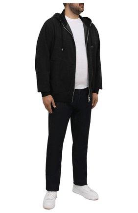 Мужской кардиган из шерсти и кашемира CORTIGIANI темно-серого цвета, арт. 214633/0000/60-70   Фото 2 (Материал внешний: Шерсть; Рукава: Длинные; Длина (для топов): Удлиненные; Мужское Кросс-КТ: Кардиган-одежда; Стили: Кэжуэл; Big sizes: Big Sizes)