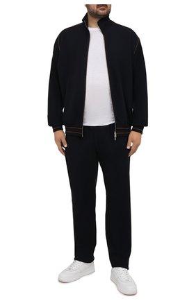 Мужские брюки из шерсти и кашемира CORTIGIANI темно-синего цвета, арт. 214631/0000/60-70 | Фото 2 (Материал внешний: Шерсть; Big sizes: Big Sizes; Кросс-КТ: Спорт; Мужское Кросс-КТ: Брюки-трикотаж; Случай: Повседневный; Стили: Спорт-шик; Длина (брюки, джинсы): Стандартные)