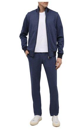 Мужской хлопковый спортивный костюм CAPOBIANCO синего цвета, арт. 11MT19.AL00.   Фото 1 (Материал подклада: Хлопок; Материал внешний: Хлопок; Рукава: Длинные; Кросс-КТ: Спорт)